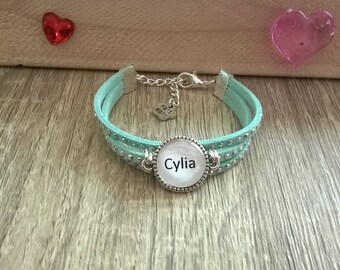 """Bracelet child girl personalized cabochon """"Initial or name"""""""
