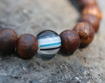 Walnut Wood Wrist Prayer Beads w Striped Glass Yoga Bracelet