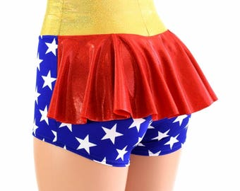 Wonder Woman Inspired Super Hero High Waist Ruffle Rump Metallic Holographic Spandex Booty Shorts - 154541