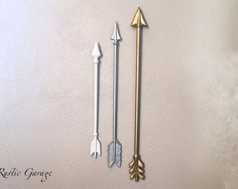 SET OF 3 ARROWS -Cast Iron Metal Wall Hanging - Custom Painted Tribal Themed Home Decor Wall Hanging - Native American Arrow