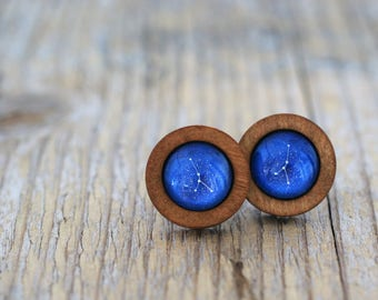 Cancer Earrings, Cancer Constellation, Zodiac Earrings, Cancer Zodiac Earrings, Constellation Earrings, Wooden Earrings, Celestial Zodiac