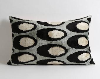 Black Gray White polka dot throw ikat velvet pillow cover // decorative cushion accent pillow