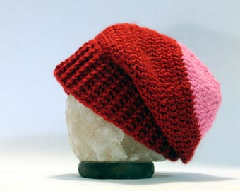 Hand Crocheted Slouch Beanie - Red