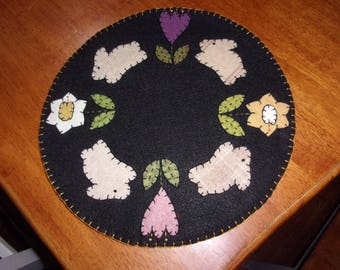 Penny Rug Candle Mat Spring/Easter Bunnies and Flowers 12 inches