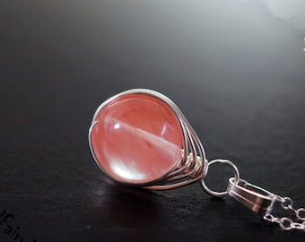 Red Quartz Necklace Sterling silver Wrapped Red Cherry Quartz Necklace  Red Stone Pendant - Bridesmaid Gift Gift For Mom