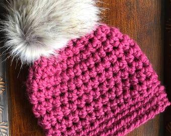 Raspberry Slightly Slouchy Women's Winter Hat with faux-fur pom pom