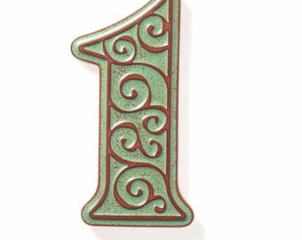 ceramic house number 1 , green-brown