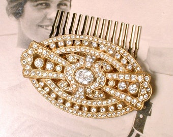 OOAK Antique Gold Art Deco Bridal Hair Comb/Dress Sash Brooch,1920s 1930s Pave Rhinestone Vintage Wedding Hairpiece,Crystal Gatsby Hairpiece