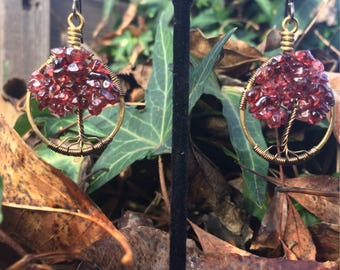 Bass and Garnet Tree of Life Earrings