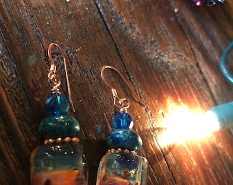 Colorful earrings with copper findings