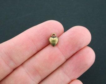 6 Heart Charms Antique Bronze Tone 3D Puff Heart - BC416
