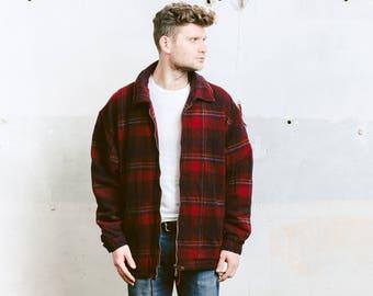 Men's Wool Jacket . Vintage 70s Red Plaid Winter Coat Lumberjack Padded Shirt Red Jacket 1970s . size Extra Large XL
