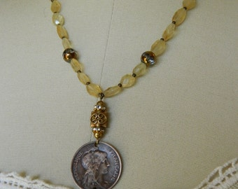 MARIANNE WITH CITRINES antique french coin repurposed assemblage handmade necklace jewelry faceted atelier paris on etsy