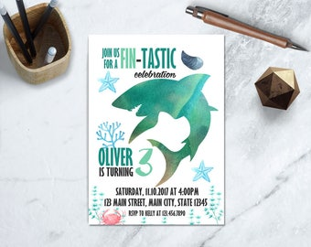 Shark Birthday Invitation, Under The Sea Invitation, Shark Birthday, Shark Party Invitation, Printable Shark Invitation, Jaws Birthday