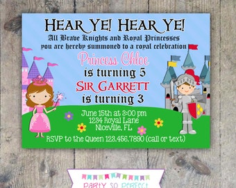 PRINCESS & KNIGHT 5x7 Birthday Party Invitation - PRINTABLE