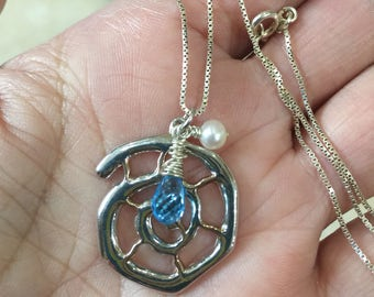 Ammonite Pendant, Rose Gold - Sterling Silver - Blue Topaz Gemstone - Pearl Necklace/Pendant - Nautical Pendant - Natures Splendour - Beach