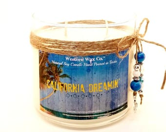 Tropical Scented Soy Candle - 14 oz Scented Soy Candle in Upcycled Candle Container - California Candle