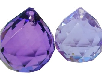 2 Faceted 30mm Ball Chandelier Crystals Lilac and Violet Shabby Chic