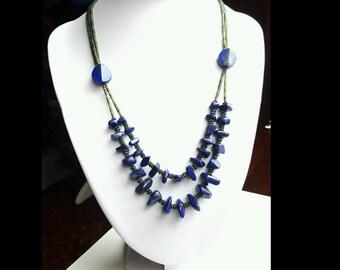 Lapis lazuli necklace, statement necklace, multi layered necklace