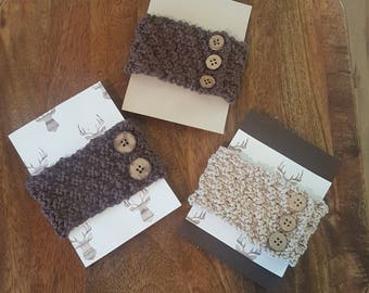 Hand Knit Coffee Cozy with Buttons pack of 3