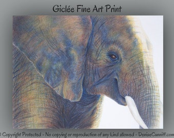 Elephant fine art print, Elephant wall art, Elephant artwork, Blue brown decor, Yellow blue decor, African print, Animal art,Indian elephant