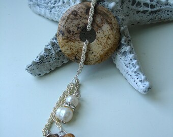 Pearls and Jasper - keyring pendant