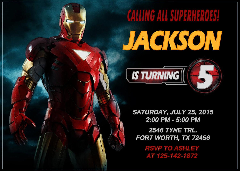 Iron Man Invitation Iron Man Birthday Iron Man Party