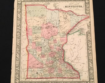 1864 Map of Minnesota, Original Antique Map, Hand Colored Map by Mitchell, 19th Century Map