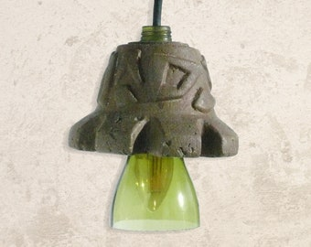 Aztec: a papercrete pendant mood lamp made from recycled materials and upcycled glass