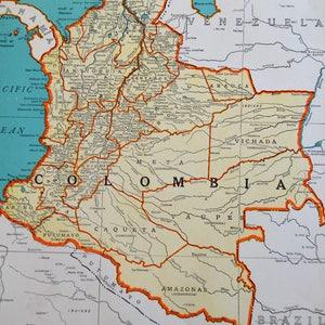 Columbia map vintage etsy antique columbia map peru ecudor on reverse vintage original 1941 atlas map wwii era colliers world gumiabroncs Gallery