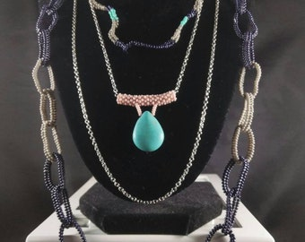 Multilayered Bead Woven Chain Necklace.