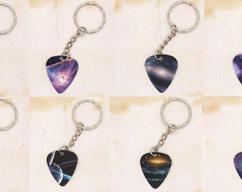 Universe Space Planets Stars Theme Guitar Pick Keyring Choice of Design