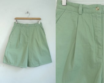 "high waist shorts moss green twill cotton pleated 80s talbots minimalist high waisted womens shorts with pockets size large 31"" waist"