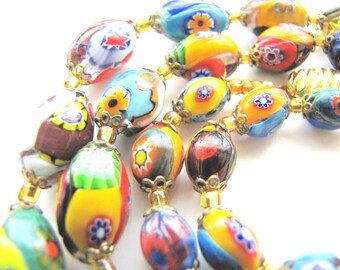Vintage Millefiori Necklace Venetian Glass Bead Necklace from AllieEtCie