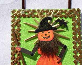 Sweeping Pumpkin Man Halloween Ornament-Green Glitter