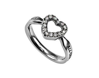 "CZ Open Heart Ring ""Christ My Strength"""