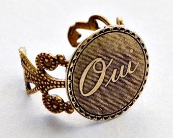Oui Ring, Promise Ring, French for Yes Ring, French Charm Ring, I Do, Adjustable Brass Filigree Ring