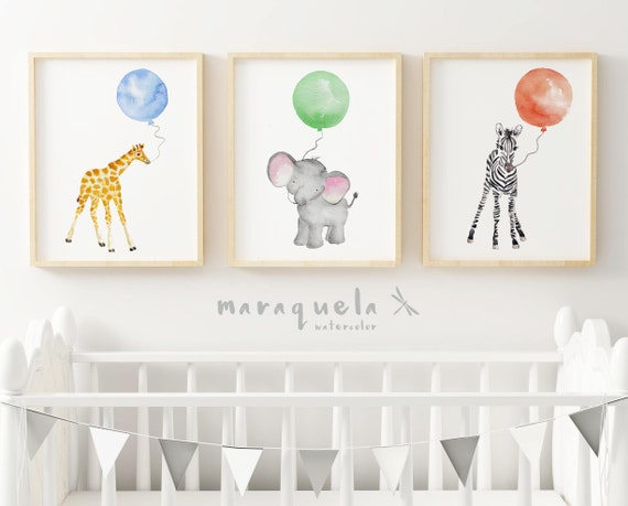 Set 3 animales con globos/ ANIMALS with Balloons Set for baby