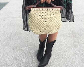 Borsa uncinetto anni 70, Borsa cotone crochet, Borsa a mano uncinetto, Borsetta macramè color corda, borsa macrame a mano