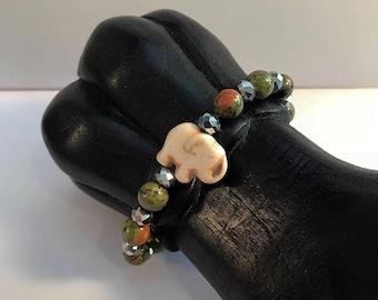 Unakite Gemstone / Elephant Charm Bracelet