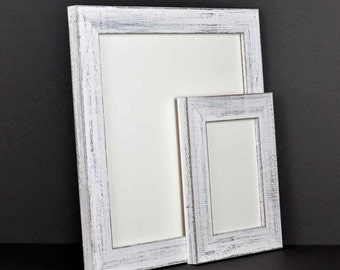 White Rustic Picture Frame, Distressed Wood Picture Frames Wall Decor Home Decor Photo Frame Framed Art Custom Personalized Reclaimed Style
