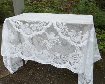 Vintage White Lace Tablecloth Angel Motif 58x100 Lace Table Cloth Lace  Overlay Wedding Decorations Table Decor