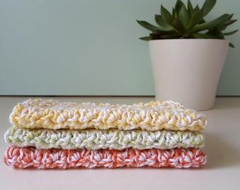 Large Crochet Washcloth, 100% Cotton, Dishcloth, Reusable, Ecofriendly, Handmade, Set of 3