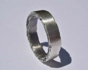 5mm Sterling Silver Rough Edge Band