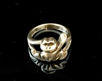 Sterling Silver Frog Ring, Size 4.25