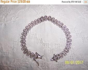 20% OFF VALENTINES SALE Vintage Clear Cubic zirconias bracelet. Silver plated.