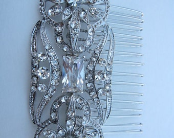 Bridal Hair Accessory, Bridal Comb, Rhinestone Hair Piece, Wedding Hair Jewelry, Crystal Silver Hair Comb, Gatsby Old Hollywood, Headpiece