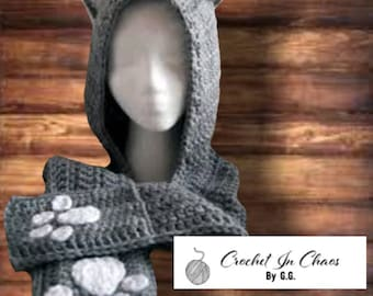 Crocheted Cat Scoodie; Hooded Scarf; Cat scarf; scarf with hood