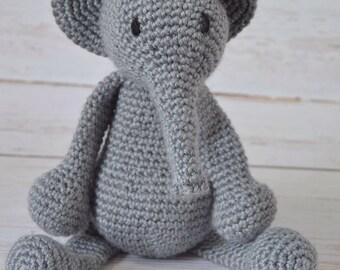 Crochet stuffed animal, crochet stuffed elephant, grey elephant, crochet elephant, crochet baby toy, stuffed toy, crochet toy
