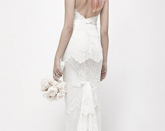 French Lace Wedding Dress, Open Back Wedding dress, Lace Wedding Dress, Bridal dress, wedding dress lace, lace dress, beach wedding dress